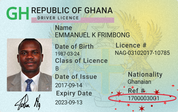 Ghana Driver License 2 Supported ID Cards