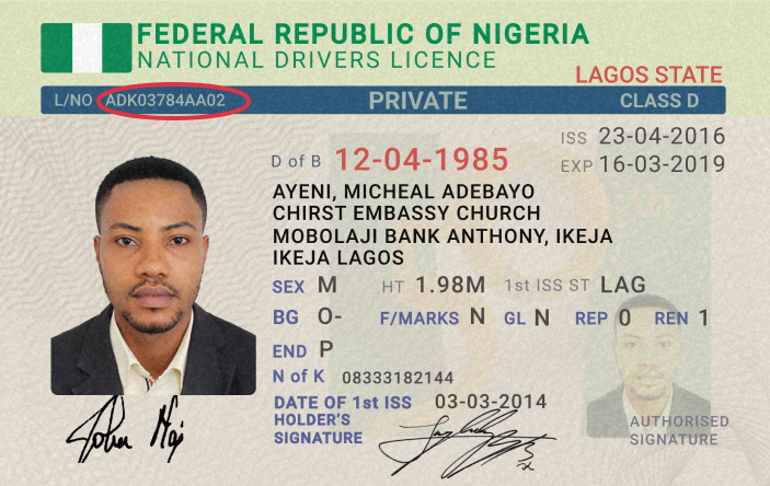 Nigerian Drivers Licence Supported ID Cards