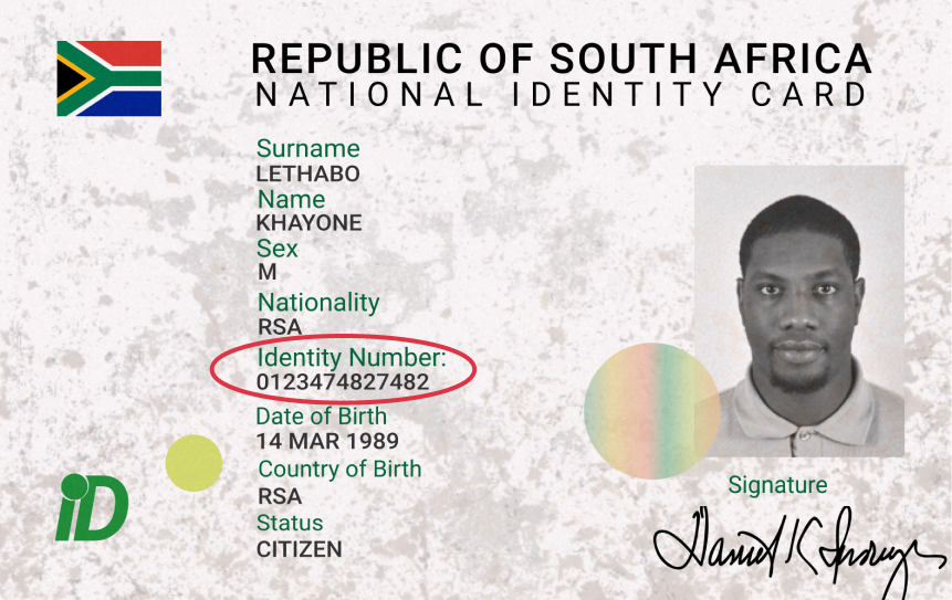 South Africa Visual Sample Circled Supported ID Cards