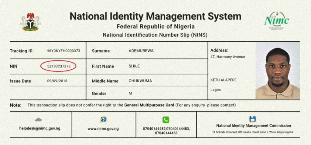NIN updated Supported ID Cards